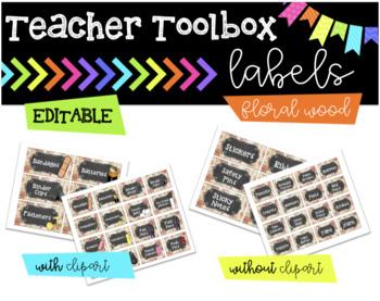 Teacher Toolbox || Floral Wood || EDITABLE