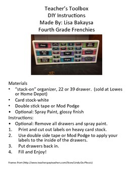 Teacher Toolbox Label Kit