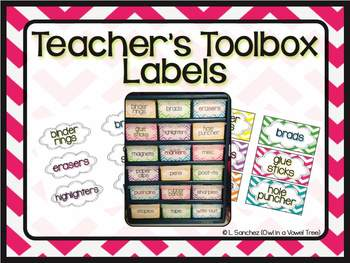 Teacher Toolbox Labels- Chevron and Black and White!