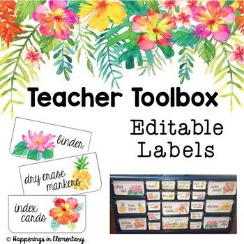 Teacher Toolbox Labels - Tropical Theme