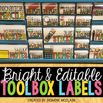 Teacher Toolbox Labels (BRIGHT) and EDITABLE