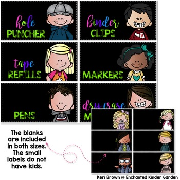 Editable Teacher Toolbox Labels - Black & Brights Kidlette Style