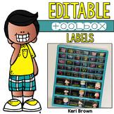 Editable Teacher Toolbox Labels - Black & Brights Kidlette Style