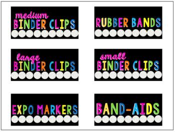 Teacher Toolbox Labels [Black & Neon]