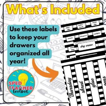 Teacher Toolbox Labels- Black & White Theme