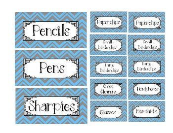Teacher Toolbox Labels Blue and Gray Background