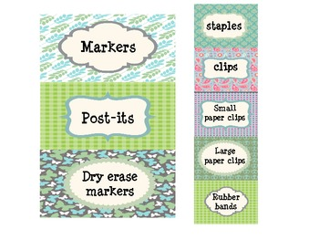 Teacher Toolbox Labels - Blues, Greens, and Purples