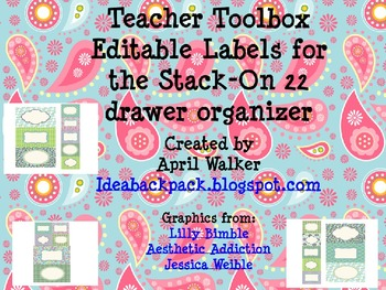 Teacher Toolbox Labels - Blues, Greens, and Purples - Editable