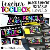 Teacher Toolbox Labels {Bright, Black, & Editable}