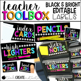 Teacher Toolbox Labels {Bright, Black, & Editable}