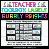 Teacher Toolbox Labels Bubbly Brights Black and Neon Class