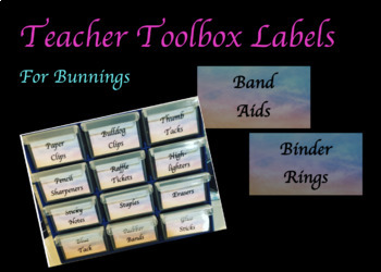 Teacher Toolbox Labels (Bunnings)
