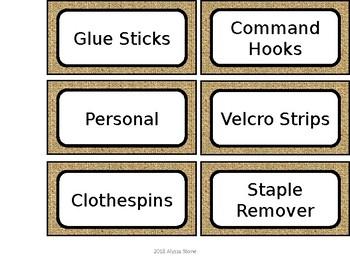 Teacher Toolbox Labels - Burlap & Denim