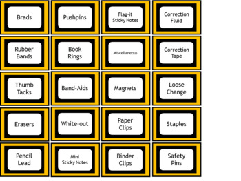 Teacher Toolbox Labels - Charlie Brown Tribute Colors