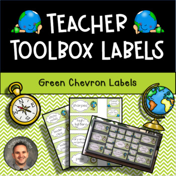 Teacher Toolbox Labels - Chevron Green Travel