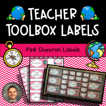 Teacher Toolbox Labels - Chevron Pink Travel