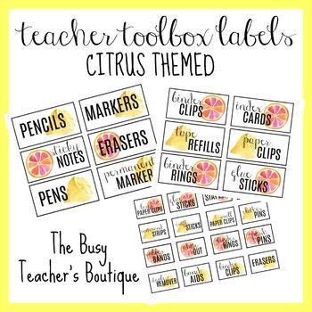 Teacher Toolbox Labels- Citrus Themed EDITABLE
