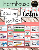 Teacher Toolbox Labels Clipart Farmhouse Calm Whitewash Classroom Theme Editable