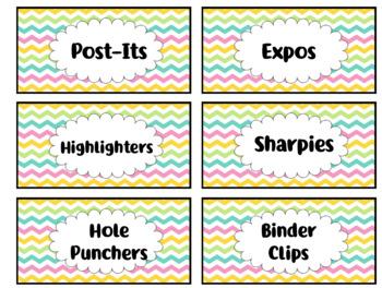 Teacher Toolbox Labels - Colorful Chevron (Editable)