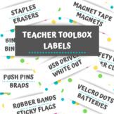 Teacher Toolbox Labels Confetti Colorful Polka Dot Theme