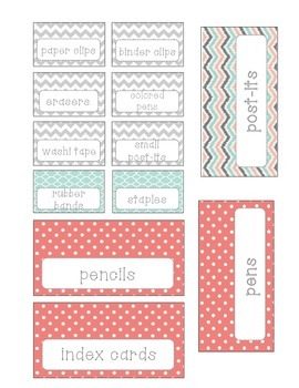 Editable Teacher Toolbox Labels- Coral and Mint