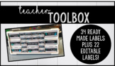 Teacher Toolbox Labels {EDITABLE, BLACK, WHITE, LEAVES}