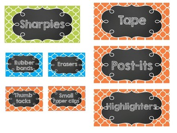 Teacher Toolbox Labels- EDITABLE- Blue, Green, and Orange