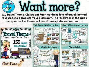 Teacher Toolbox Labels EDITABLE Freebie - Travel and Map theme
