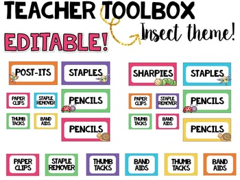 Teacher Toolbox Labels- EDITABLE- Insect Theme