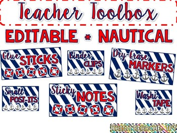Teacher Toolbox Labels- EDITABLE- Nautical Theme {Red, White, and Blue}