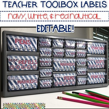 Teacher Toolbox Labels- EDITABLE- Nautical Theme {Red, Whi