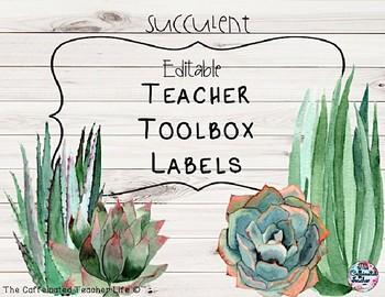 Teacher Toolbox Labels - EDITABLE - Succulent Farmhouse