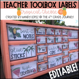 Teacher Toolbox Labels | EDITABLE | Tropical Theme
