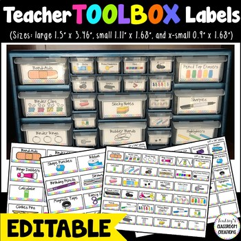 Teacher Toolbox Labels - EDITABLE With Bright Neon Colors