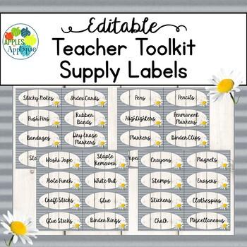 Teacher Toolbox Labels EDITABLE in Farmhouse Theme