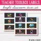 Teacher Toolbox Labels Editable - Bright Classroom Decor