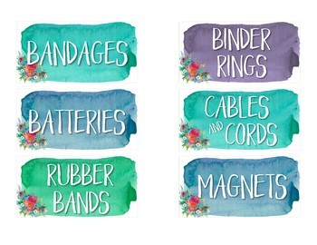 Teacher Toolbox Labels- Editable {Calm & Cool Watercolor}