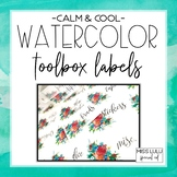 Calm & Cool Watercolor Teacher Toolbox Labels