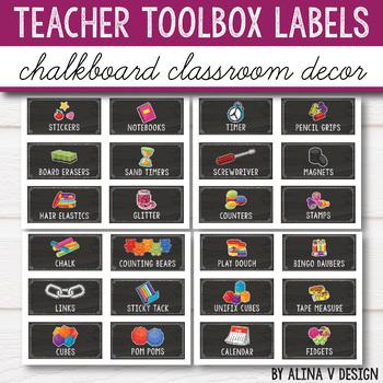 Teacher Toolbox Labels Editable - Chalkboard Classroom Decor