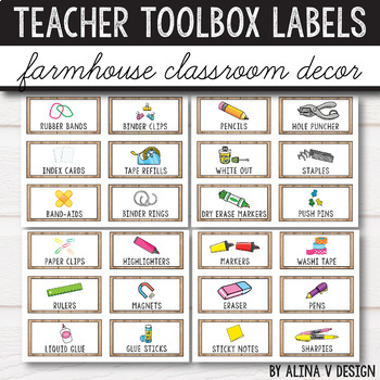 Teacher Toolbox Labels Editable - Farmhouse Classroom Decor
