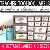 Teacher Toolbox Labels Editable - Farmhouse Classroom Decor