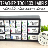 Teacher Toolbox Labels Editable Succulent Classroom Decor