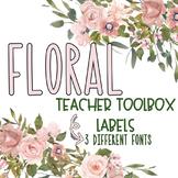 Teacher Toolbox Labels- FLORAL Theme {Editable Parts}