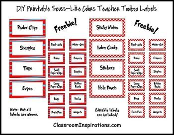 Teacher Toolbox Labels – FREE – Coordinates with Seuss-lik
