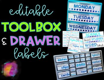 EDITABLE Teacher Toolbox and Sterilite Drawer Labels {FREEBIE}