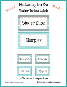 Teacher Toolbox Labels - FREEBIE - Nautical by the Sea Classroom Theme