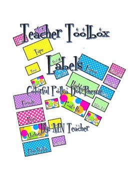 Teacher Toolbox Labels FREEBIE Polka Dot Theme
