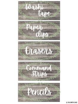 Editable Teacher Toolbox Labels (Farmhouse/Shabby Chic)