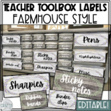 Editable Teacher Toolbox Labels (Farmhouse/Shabby Chic)
