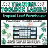 Teacher Toolbox Labels Farmhouse Tropical Botanical Leaves